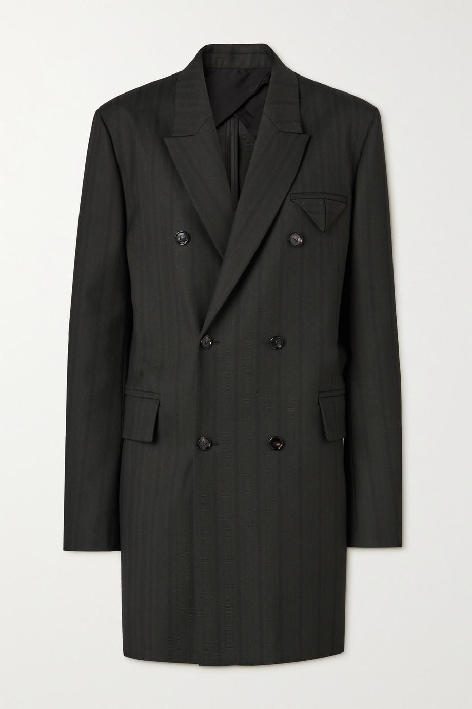 Bottega Veneta Double-breasted herringbone twill coat