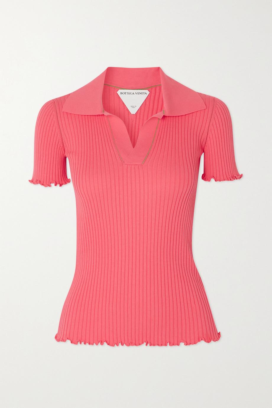 Bottega Veneta Ruffled ribbed cotton polo shirt