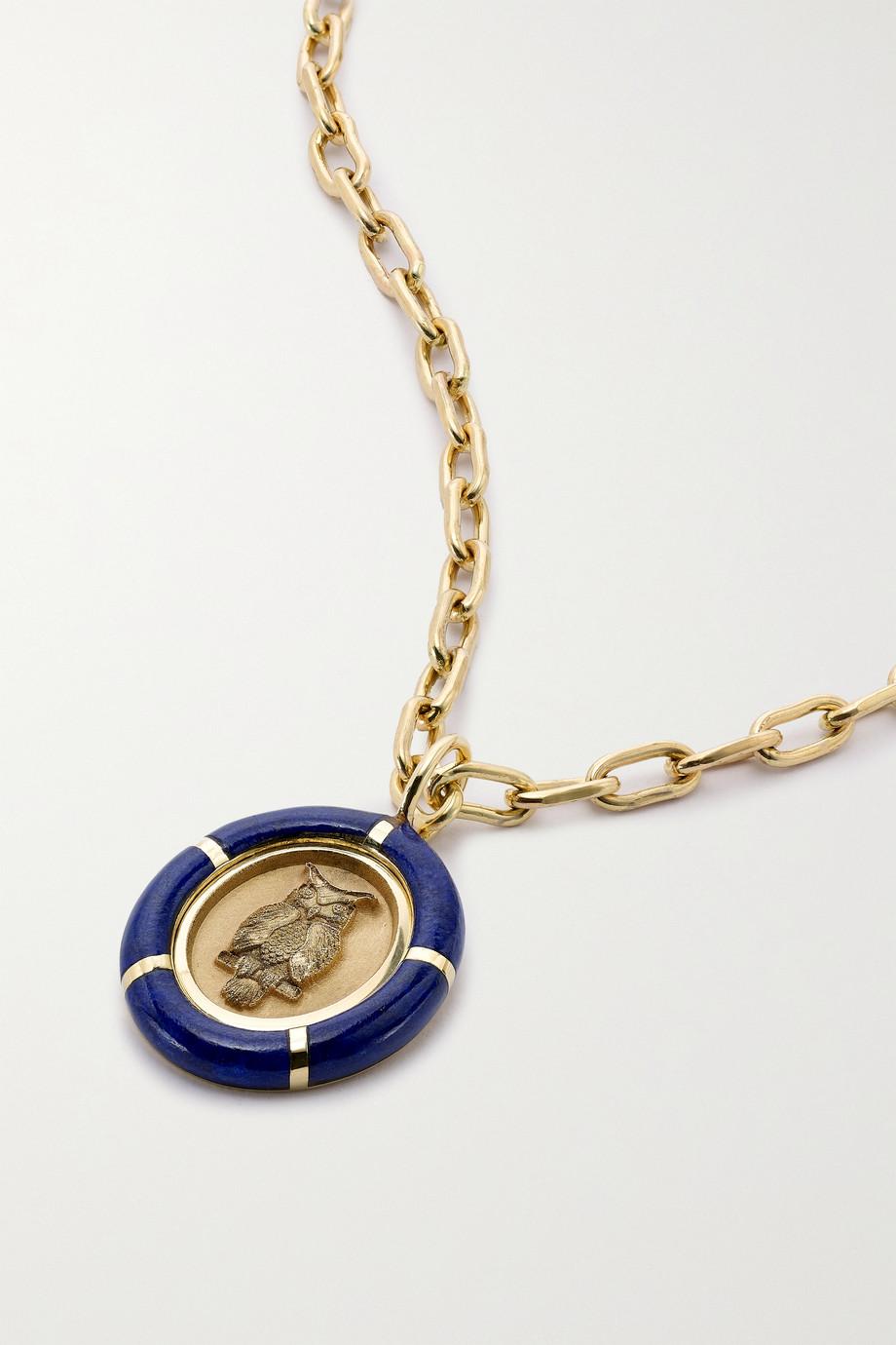 Retrouvaí Collier en or 14 carats (585/1000) et lapis-lazuli Fantasy