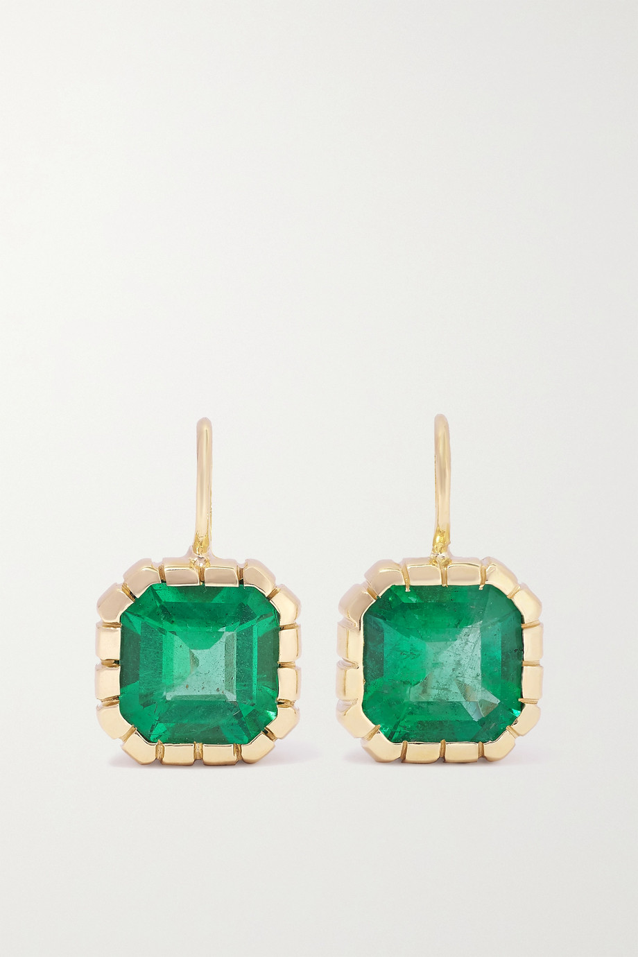 Retrouvaí Boucles d'oreilles en or 14 carats (585/1000) et émeraudes Heirloom