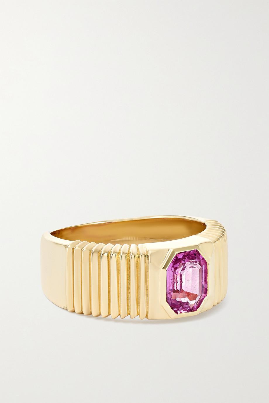 Retrouvaí Pleated Solitaire Ring aus 14 Karat Gold mit Saphir