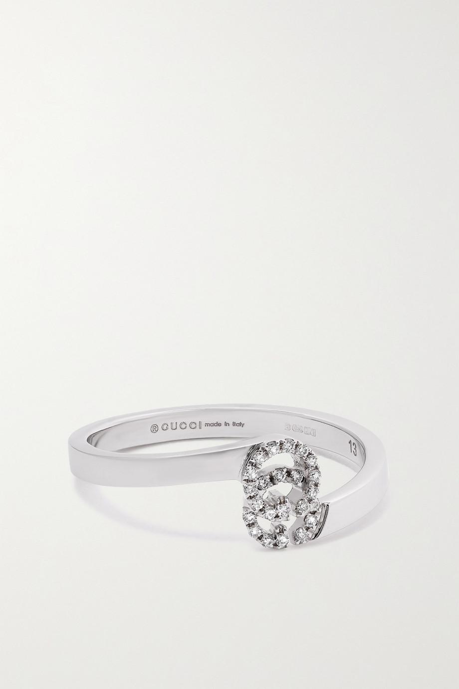 Gucci GG Running 18-karat white gold diamond ring
