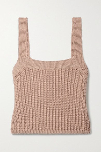 Reformation Sweaters YETA CROPPED RIBBED ORGANIC COTTON TANK