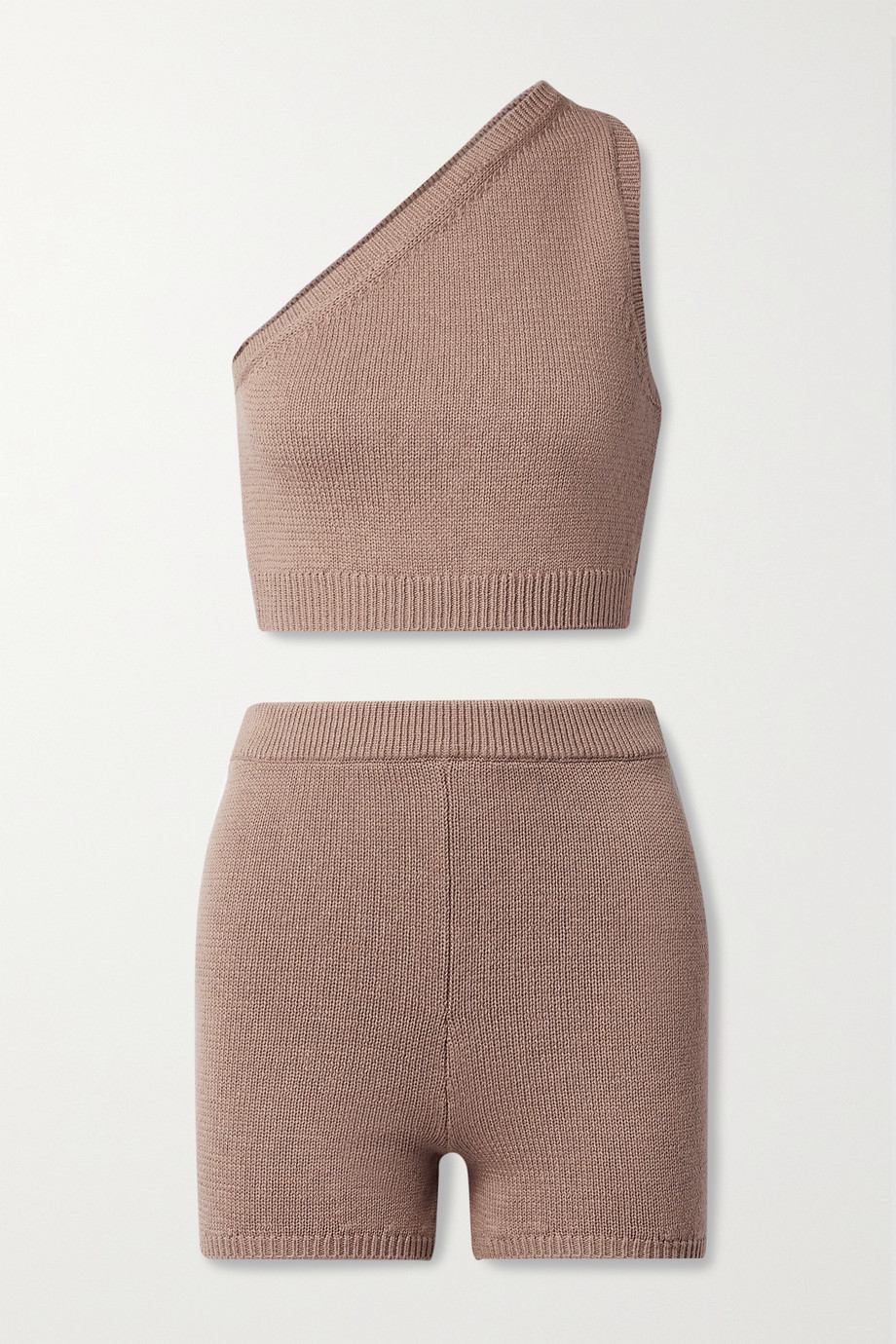 Reformation Roze one-shoulder organic cotton tank and shorts set