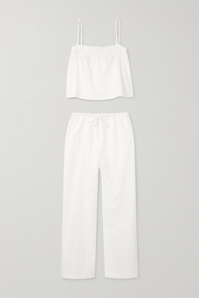 Reformation Cottons TANAGER ORGANIC COTTON CROPPED CAMISOLE AND PANTS SET