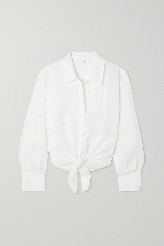 Reformation Anzio tie-front linen shirt