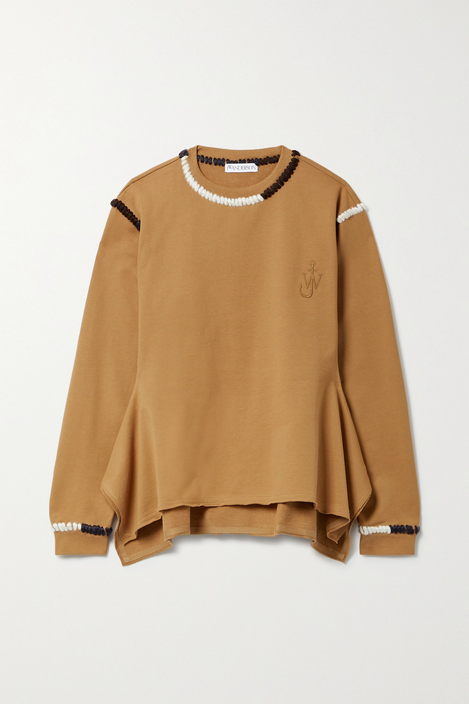 JW Anderson Asymmetric embroidered cotton-jersey sweatshirt
