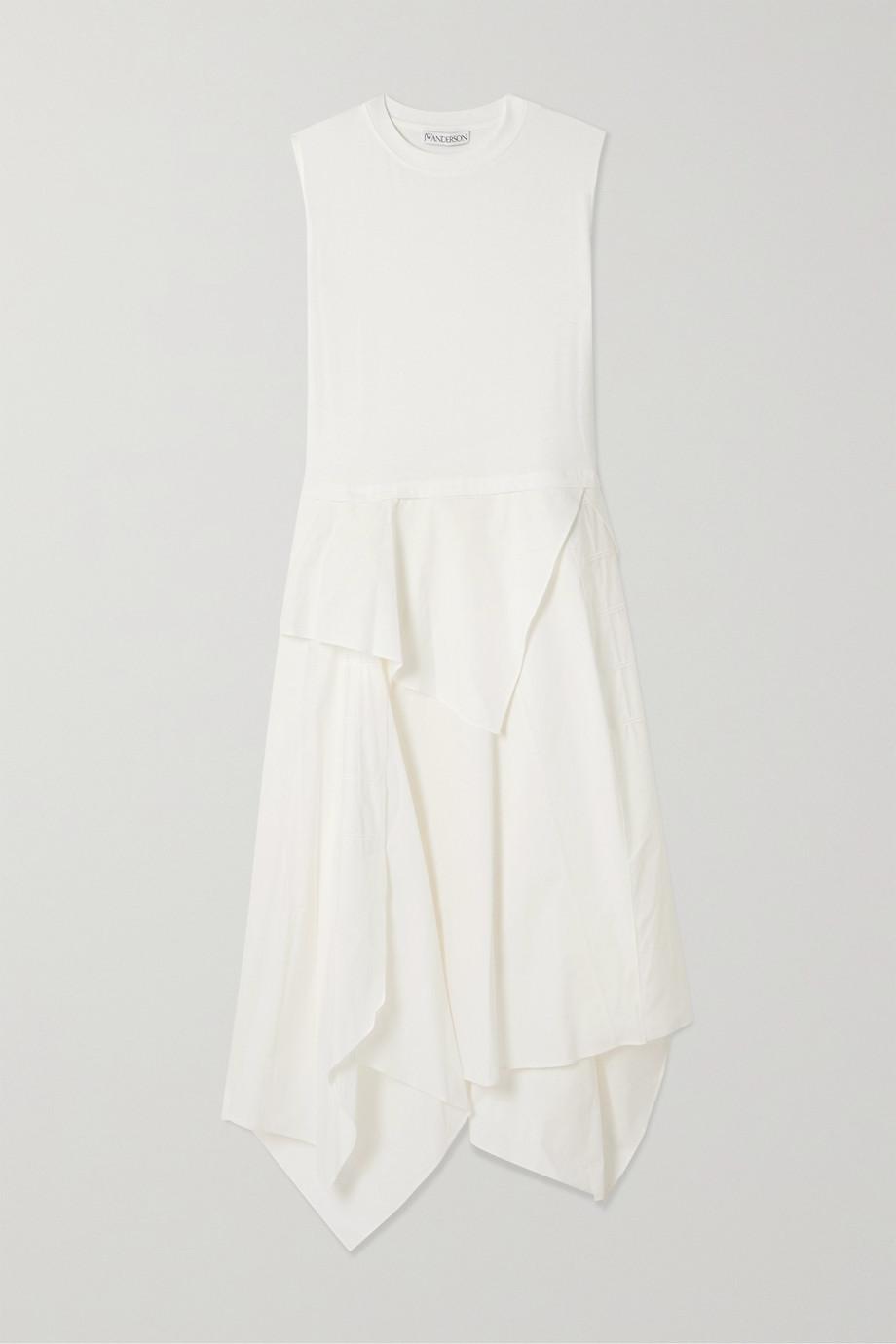 JW Anderson Asymmetric draped cotton-jersey and poplin midi dress