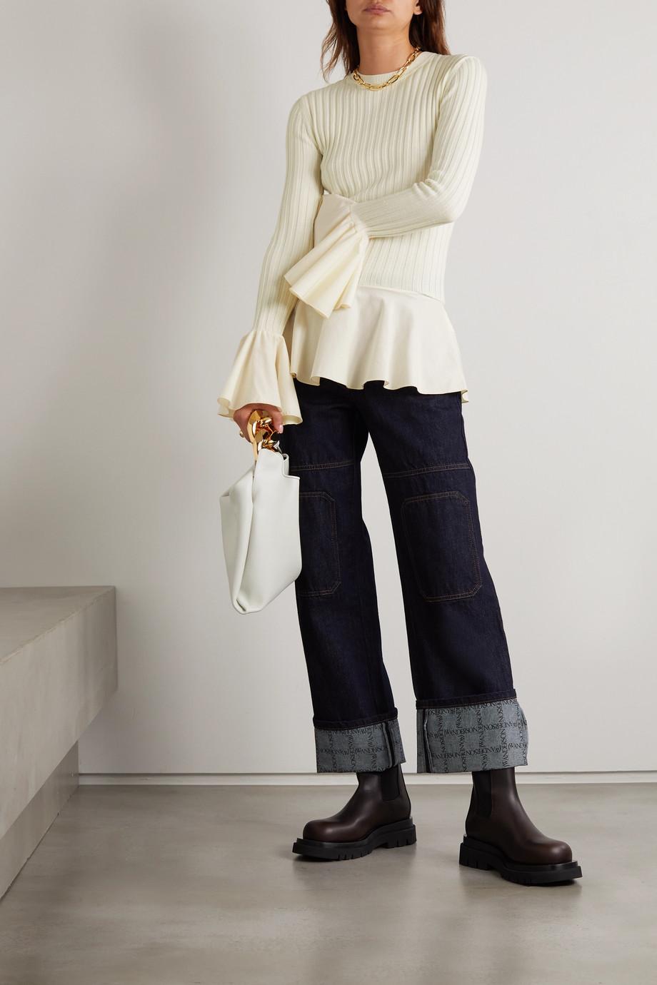 JW Anderson Pullover aus einer gerippten Woll-Baumwollmischung mit Schößchen