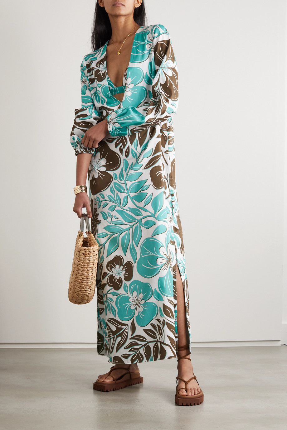 Racil Floral-print cotton-voile maxi dress and soft-cup triangle bra set