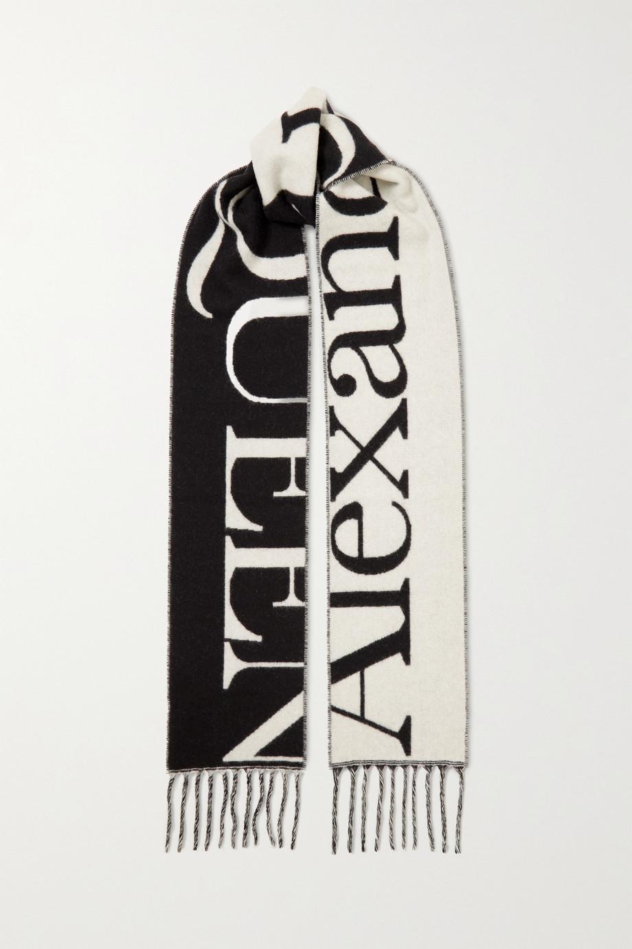 Alexander McQueen Fringed intarsia cashmere scarf