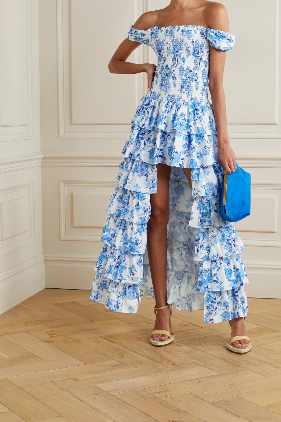 Caroline Constas Malta off-the-shoulder tiered floral-print cotton-poplin gown