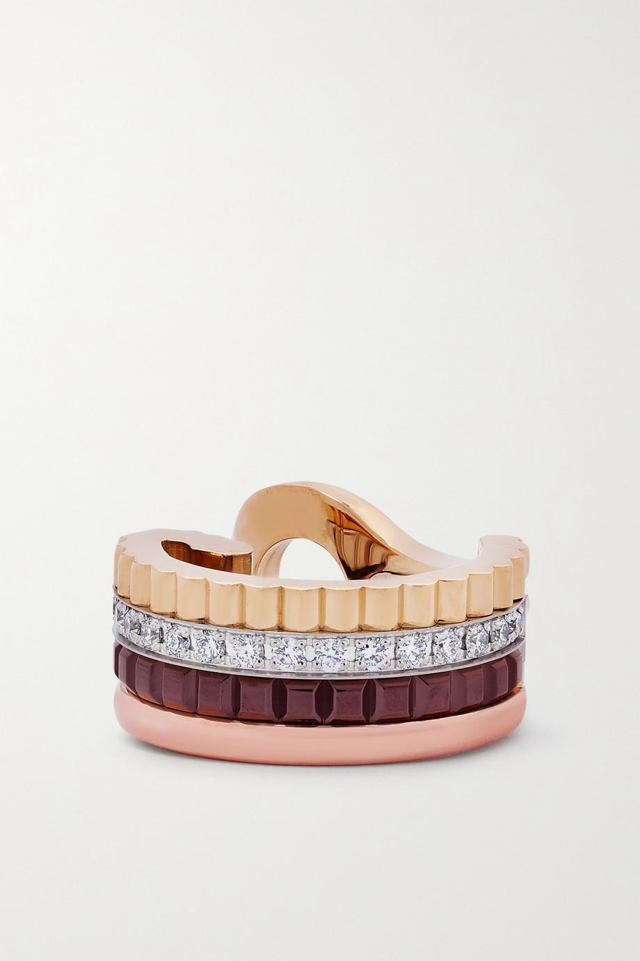 Boucheron Quatre Classique Small einzelner Ohrclip aus 18 Karat Gelb-, Weiß- und Roségold mit PVD-Beschichtung und Diamanten
