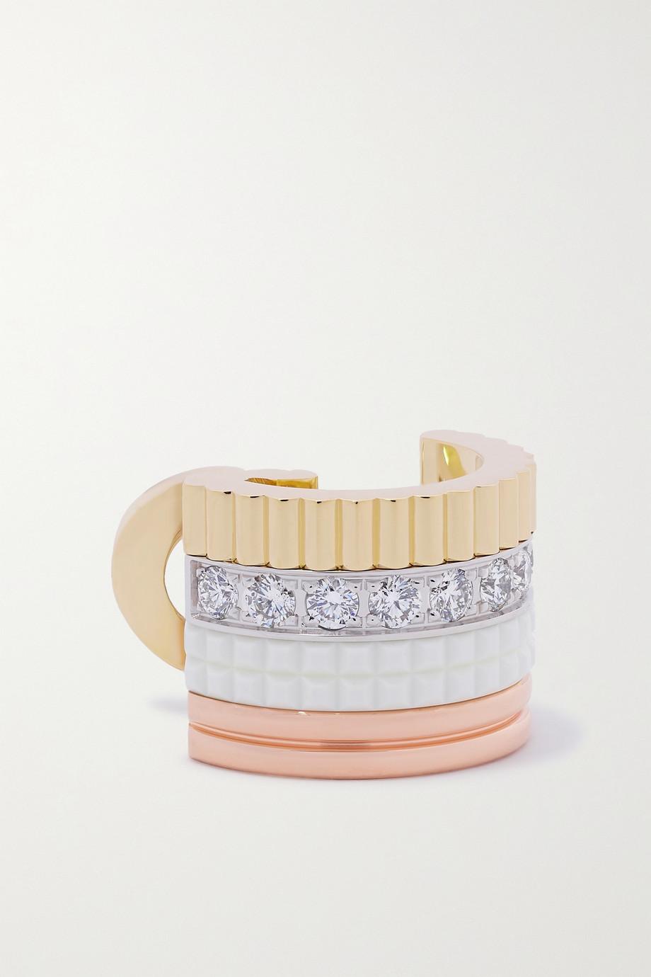 Boucheron Quatre White Edition einzelner Ohrclip aus 18 Karat Gelb-, Weiß- und Roségold mit Keramik und Diamanten