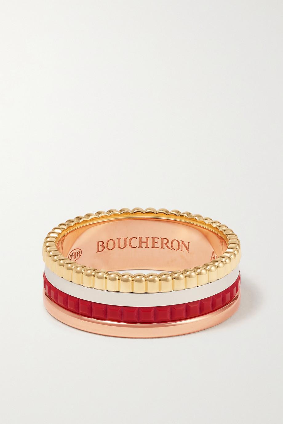 Boucheron Bague en or jaune, blanc et rose 18 carats et céramique Quatre Red Edition Small