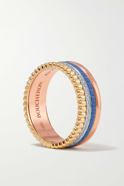 Boucheron Quatre Blue Edition Small Ring aus 18 Karat Gelb-, Weiß- und Roségold mit Keramik und Diamanten