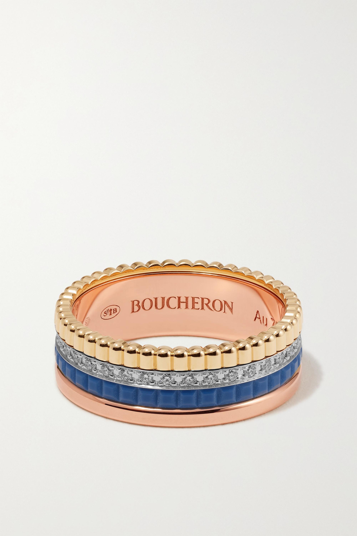 Boucheron - Quatre Blue Edition Small 18-karat yellow, white and rose gold, ceramic and diamond ring