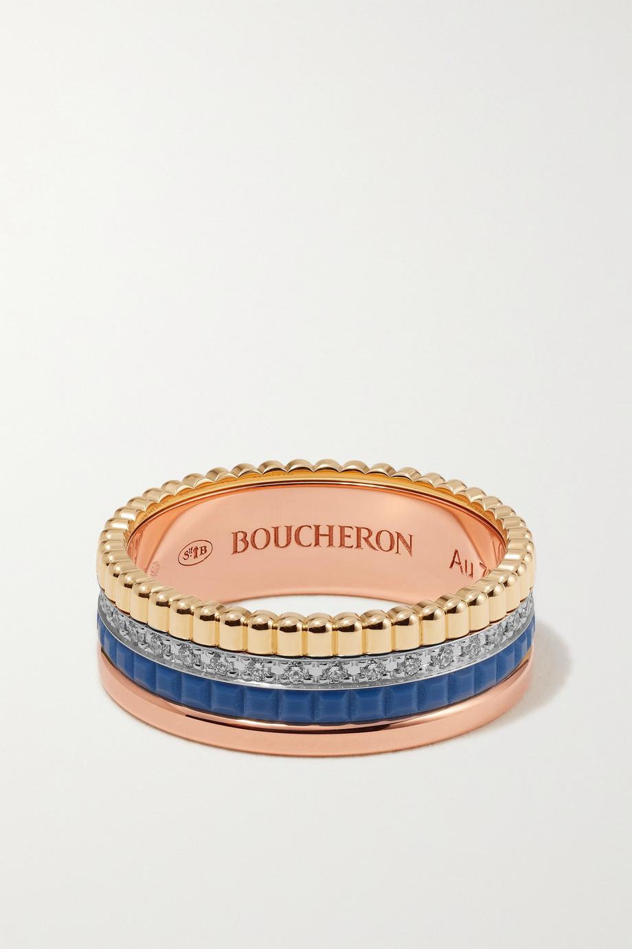 Boucheron Bague en or jaune, blanc et rose 18 carats, céramique et diamants Quatre Blue Edition Small