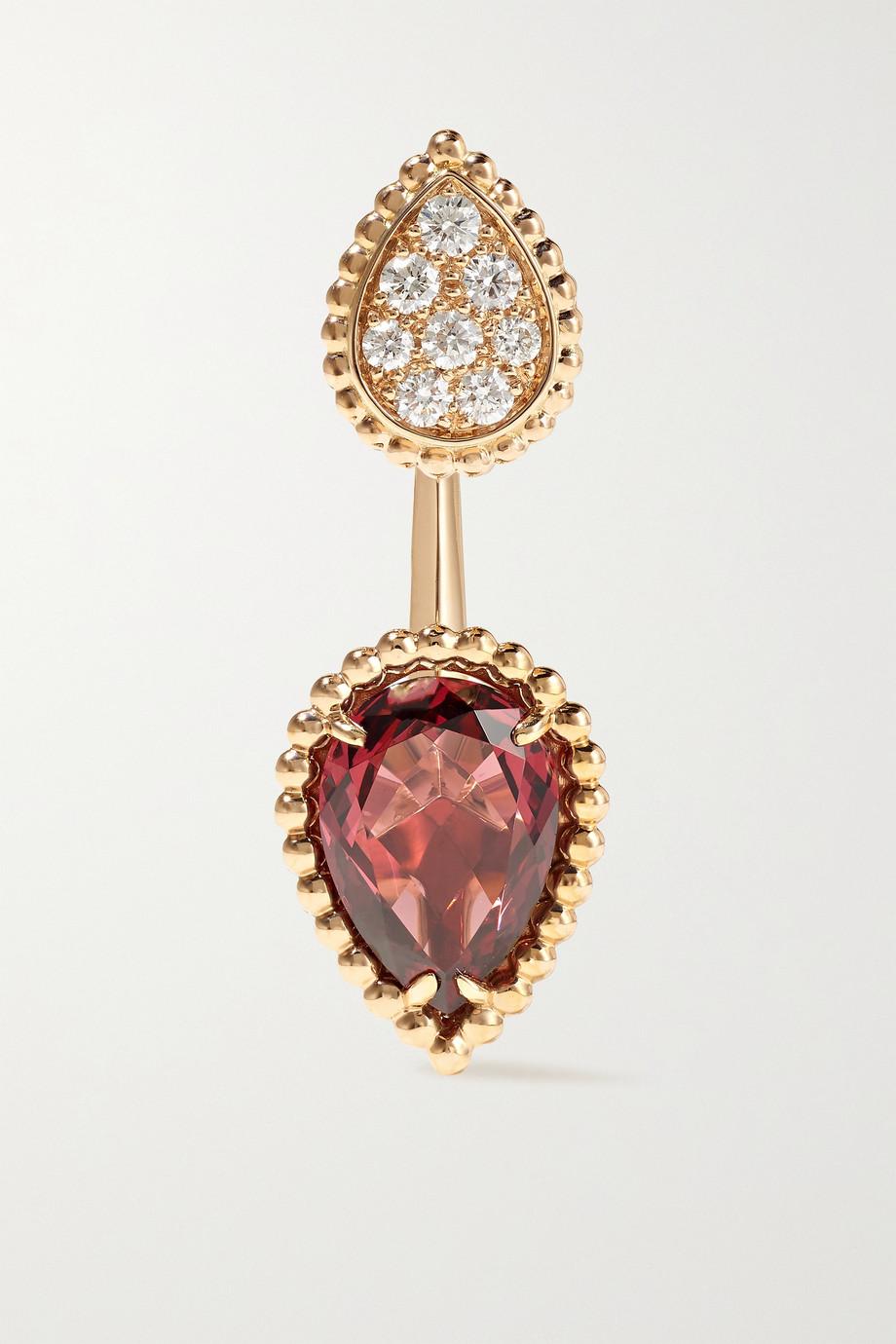 Boucheron Boucle d'oreille unique en or rose 18 carats, rhodolite et diamants Serpent Bohème