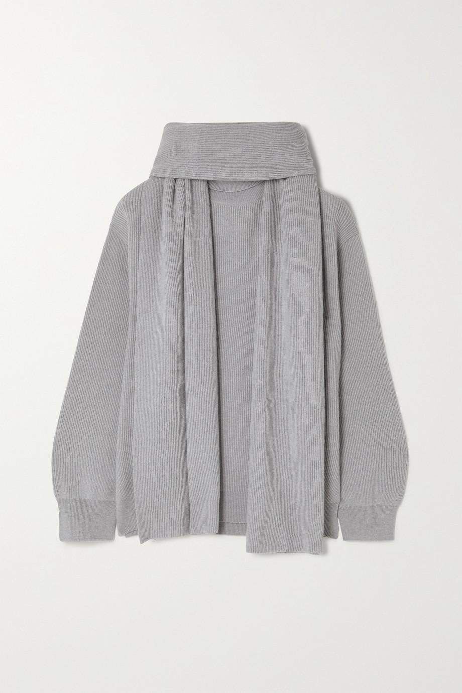 Frankie Shop Set aus Pullover mit Stehkragen und Schal aus Rippstrick