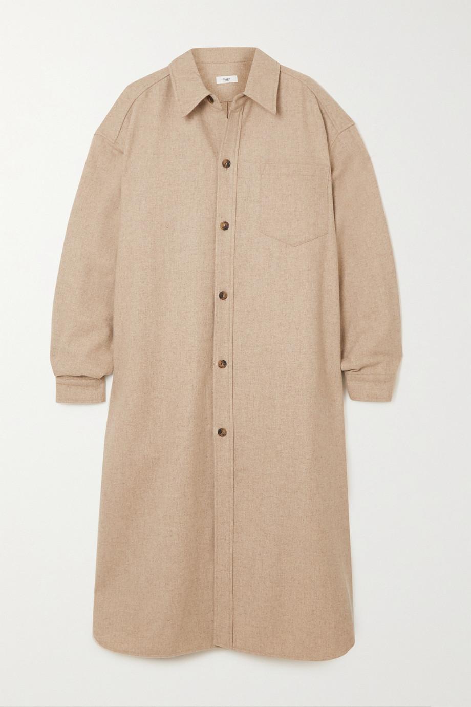 Frankie Shop Robe-chemise midi en feutre de laine mélangée chiné
