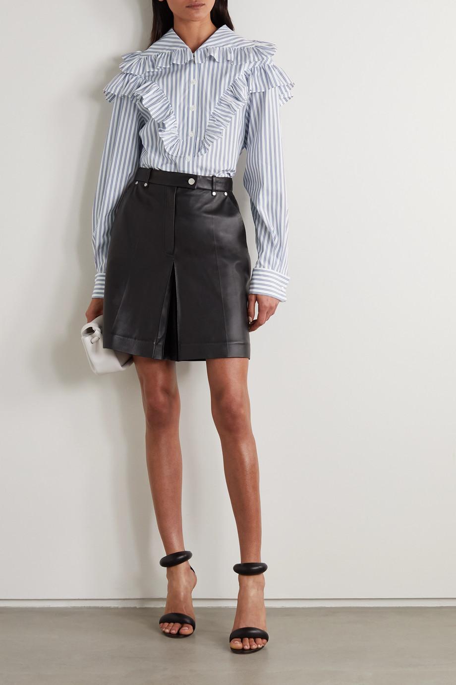 Philosophy di Lorenzo Serafini Ruffled striped cotton-poplin blouse