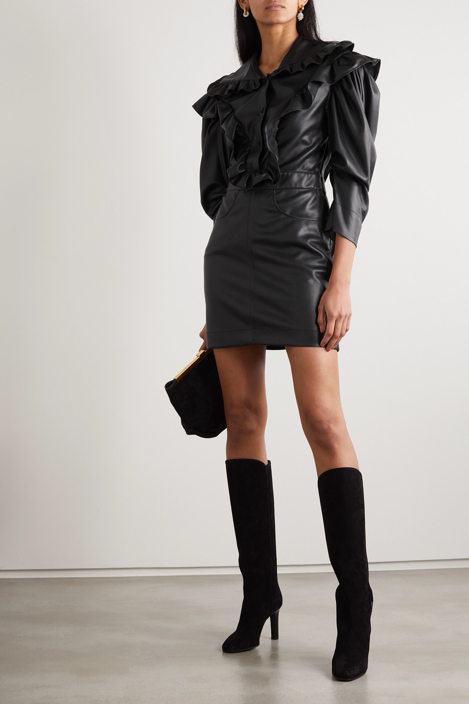 Philosophy di Lorenzo Serafini Ruffled faux leather mini dress