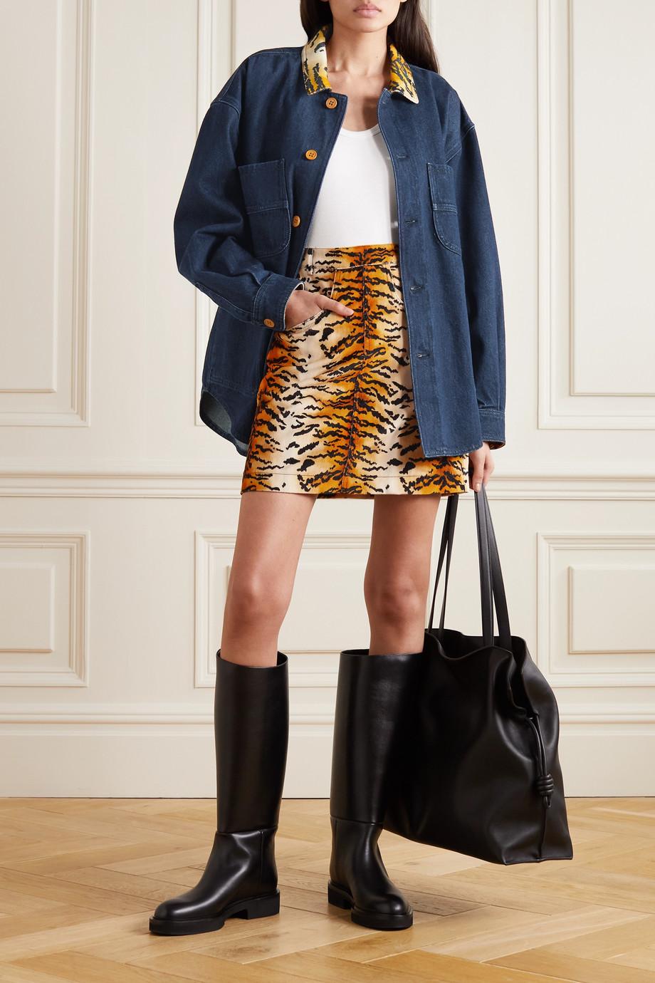 Philosophy di Lorenzo Serafini Tiger-print velvet-trimmed denim jacket