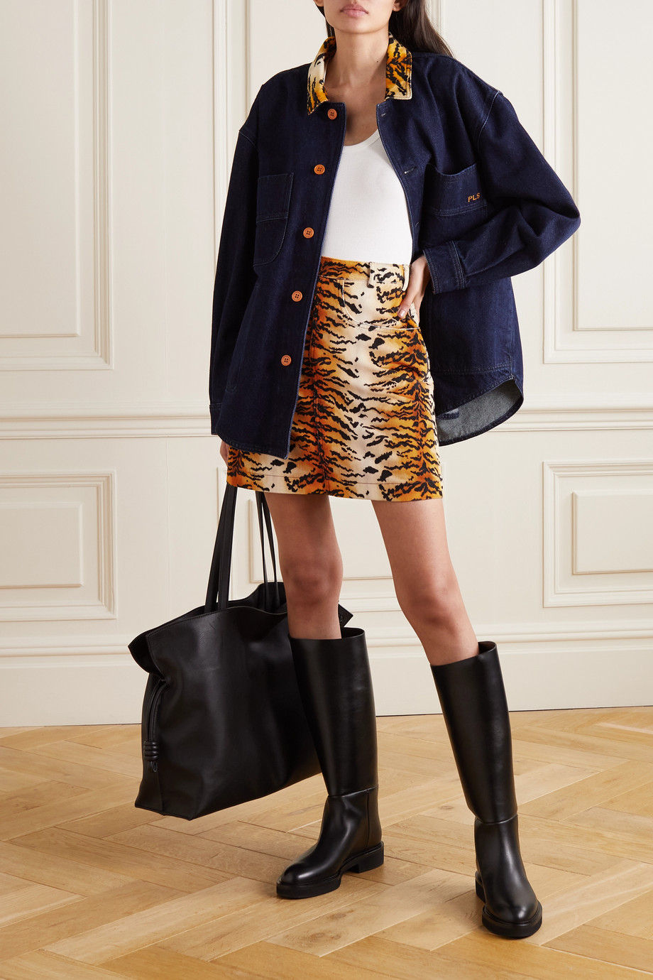 Philosophy di Lorenzo Serafini Tiger-print velvet mini skirt