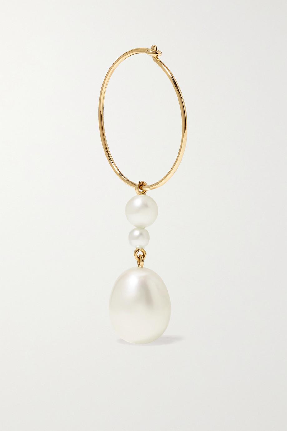 Sophie Bille Brahe L'Eau 14-karat gold pearl single hoop earring