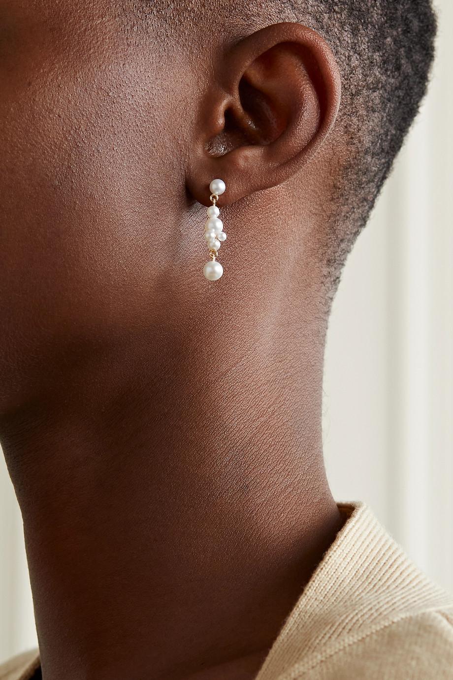 Sophie Bille Brahe Holly Splash 14-karat gold pearl earrings