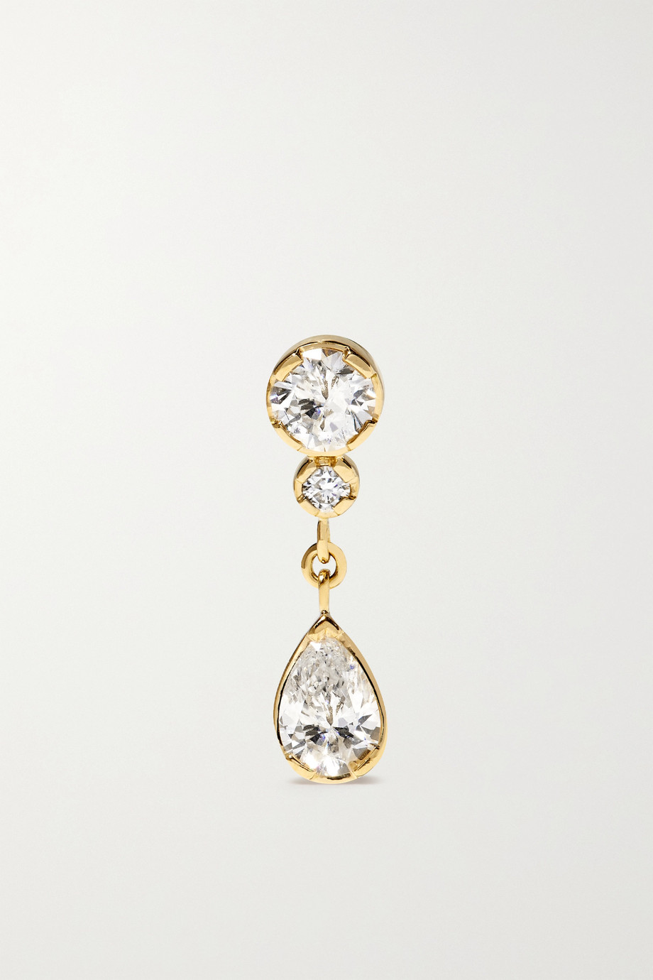 Sophie Bille Brahe Boucle d'oreille unique en or 18 carats (750/1000) et diamants Goutte