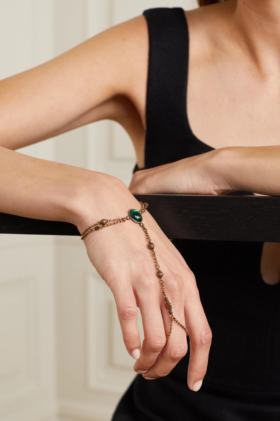 Alexander McQueen Bracelet en métal doré et cristaux