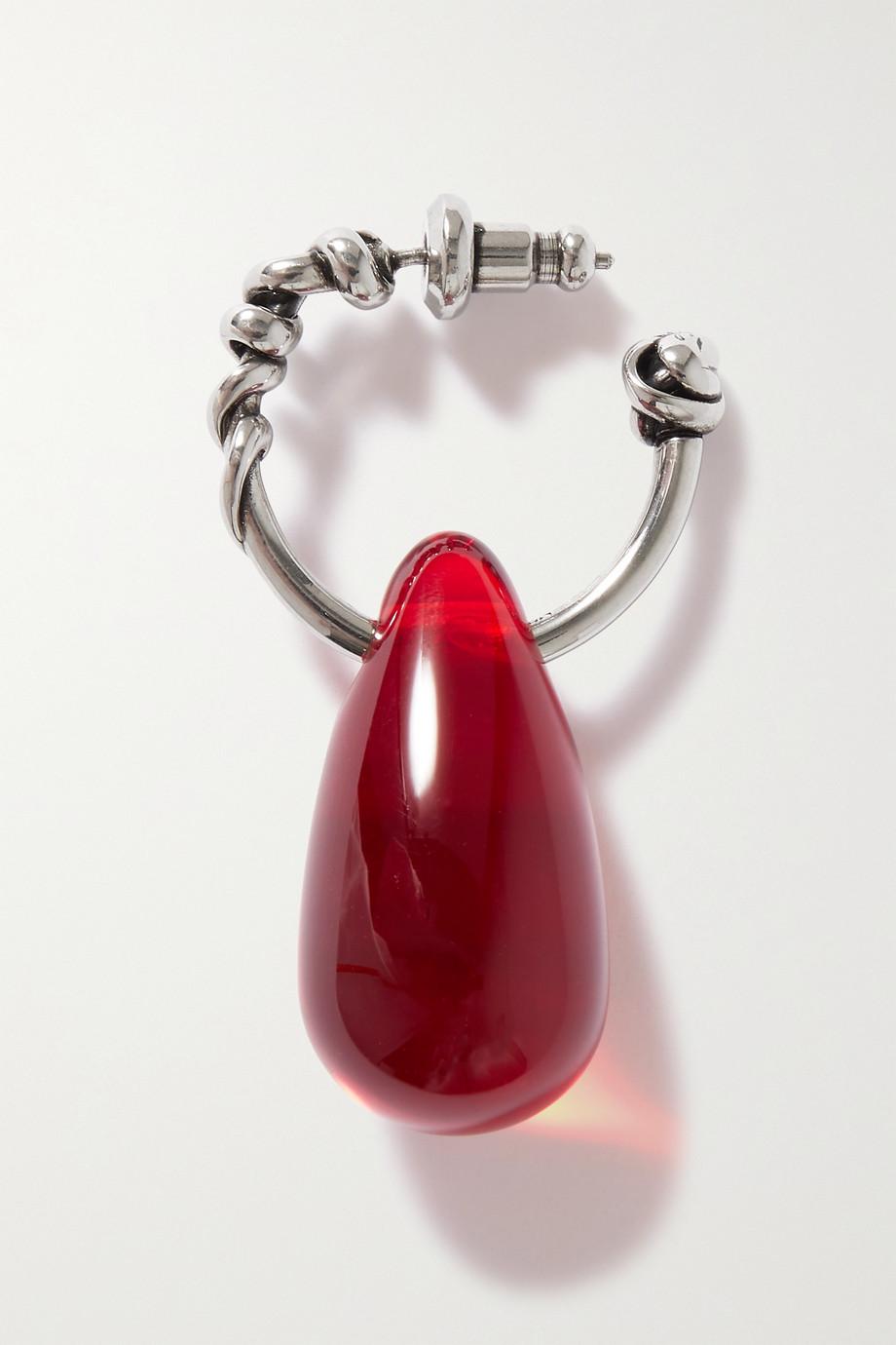 Alexander McQueen Einzelne silberfarbene Creole mit Glas