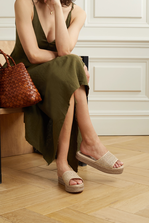Porte & Paire Leather-trimmed raffia espadrille slides