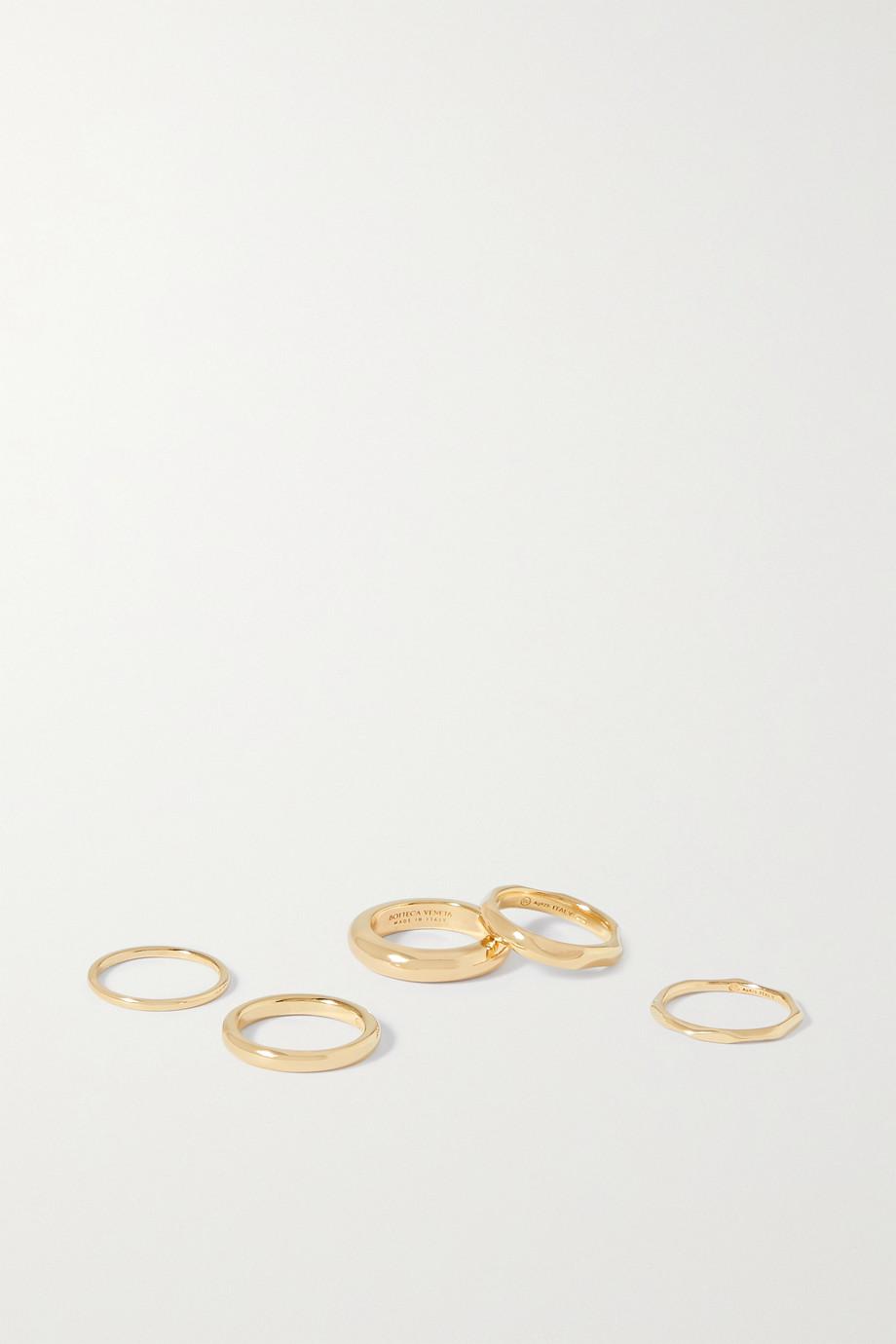 Bottega Veneta Set de cinq bagues en argent doré