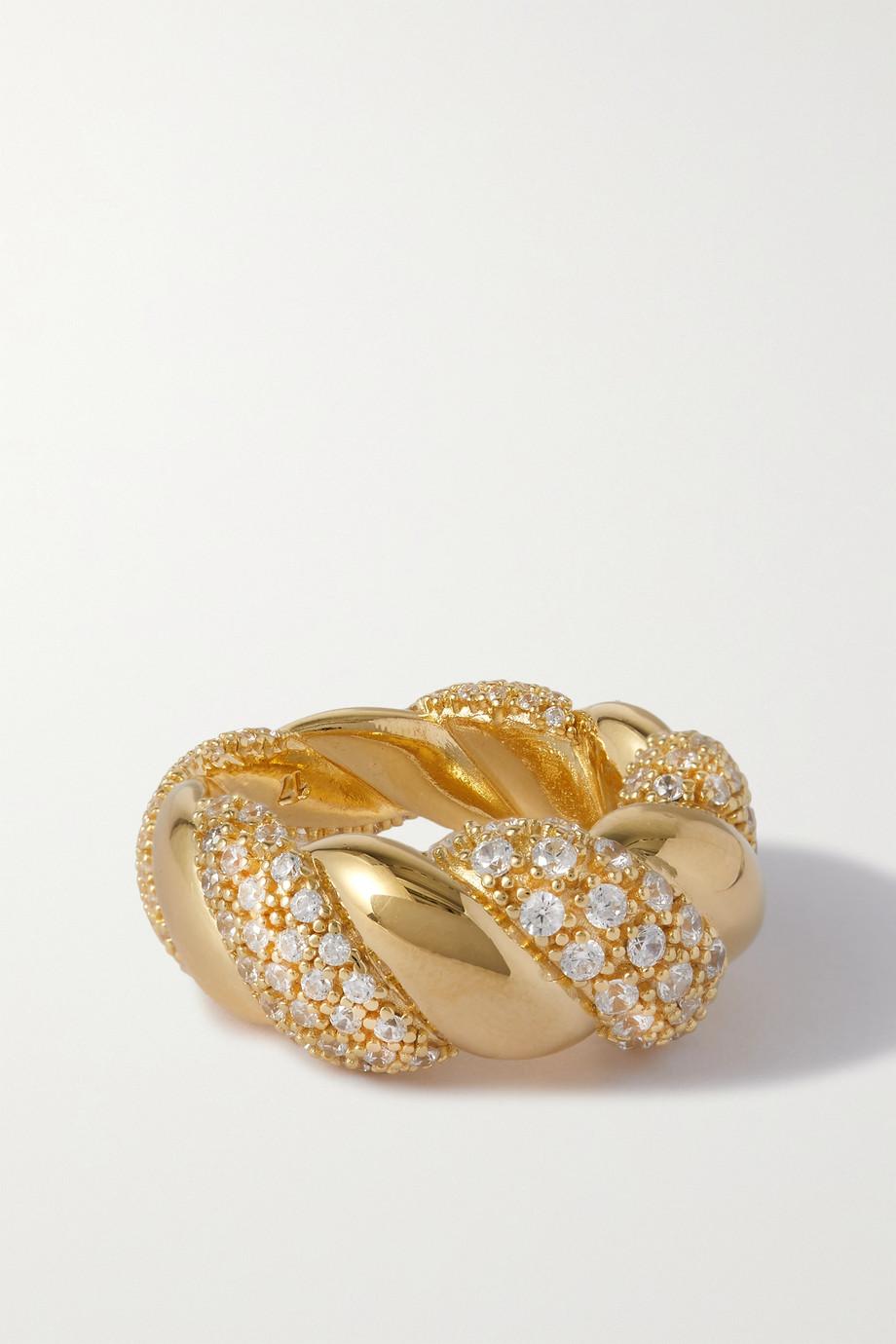 Bottega Veneta Bague en plaqué or et cristal