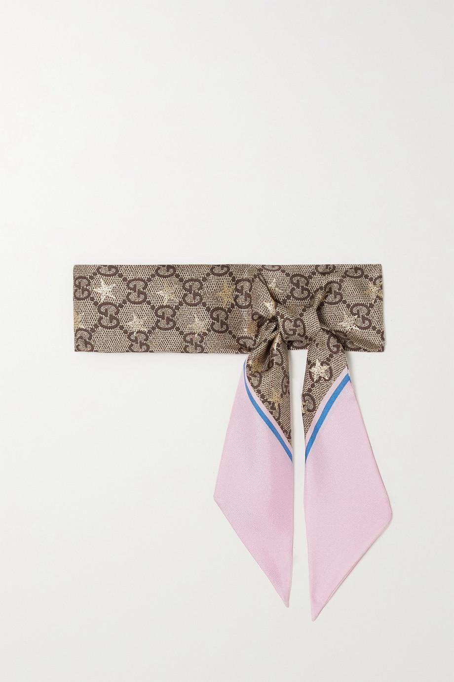 Gucci Metallic printed silk-twill scarf