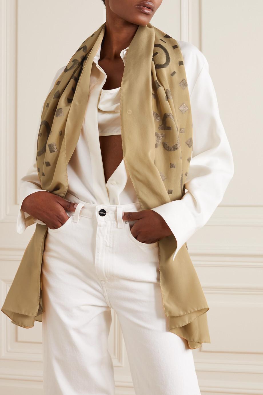 Gucci Metallic silk-blend jacquard scarf