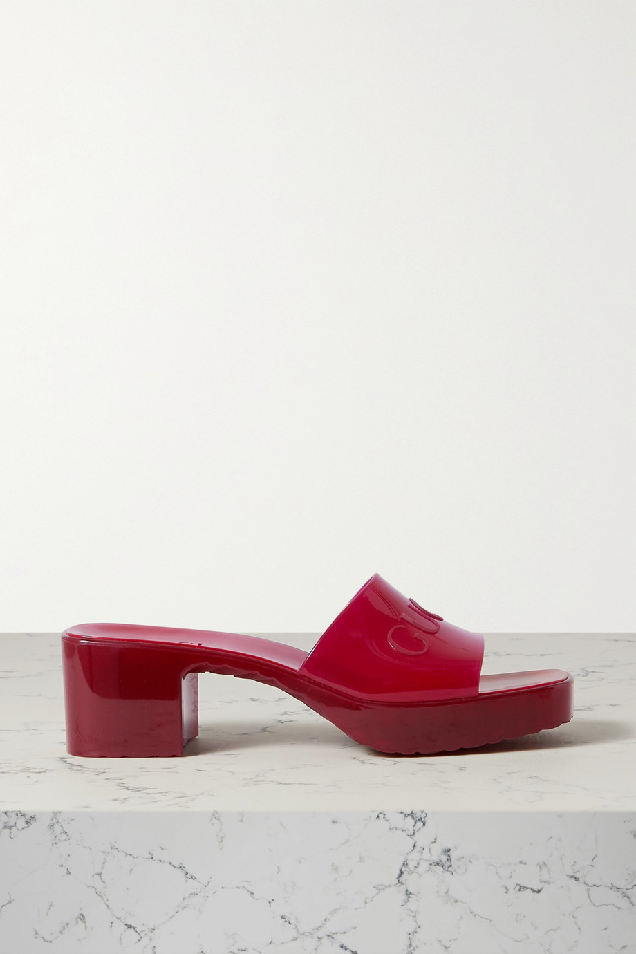 Gucci Plastique logo-embossed rubber mules