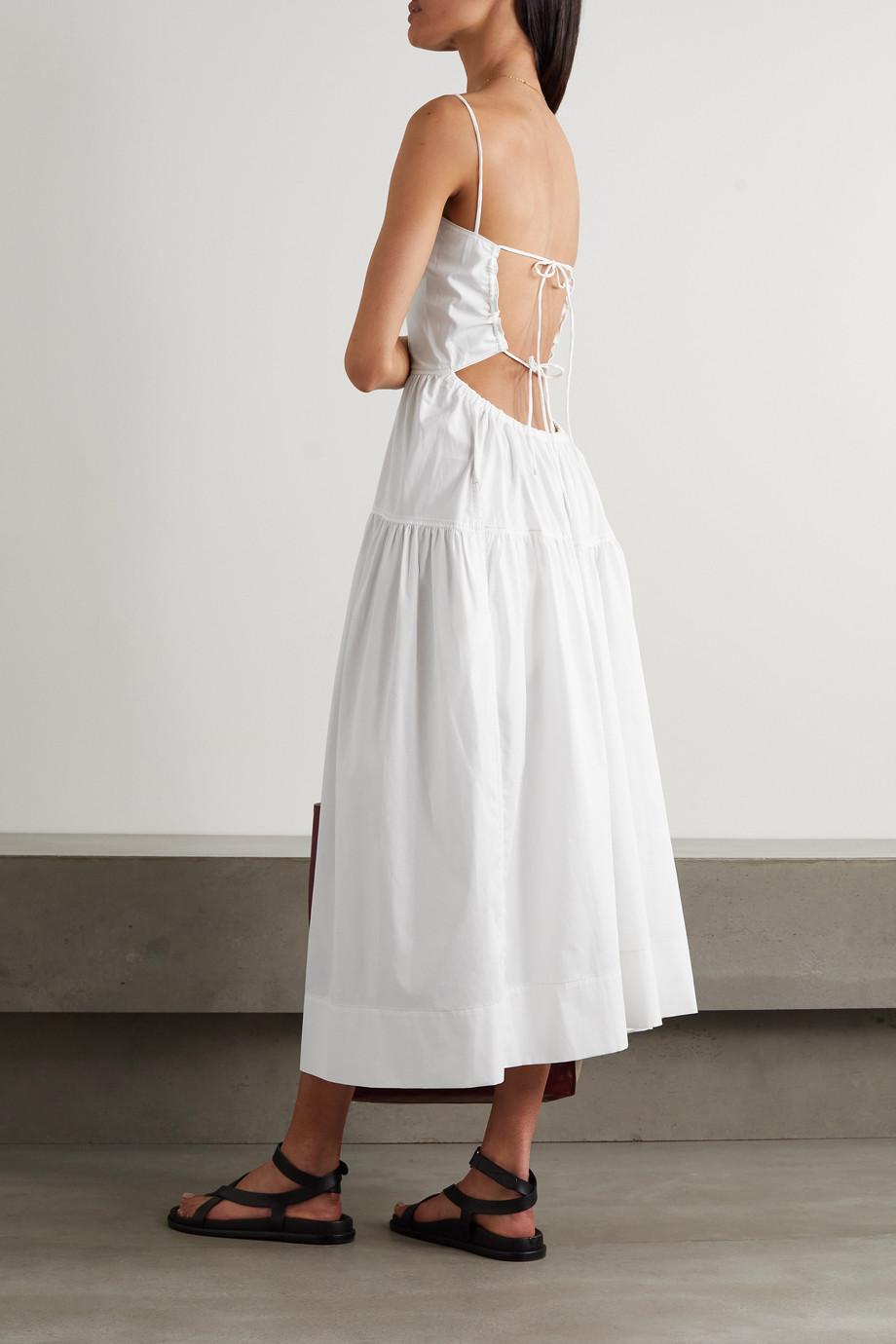 Bassike + NET SUSTAIN open-back tiered cotton-poplin dress