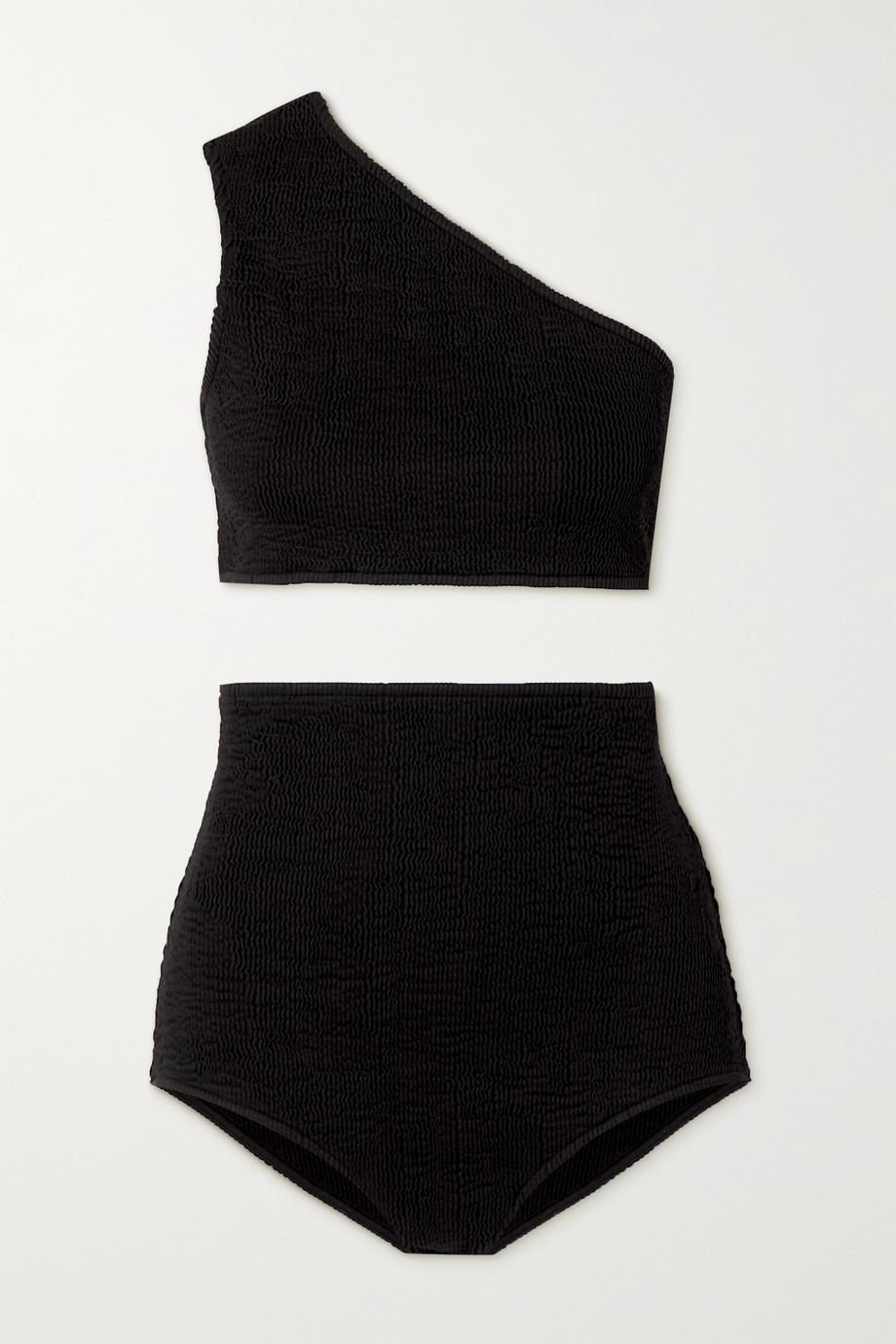 Bottega Veneta Bikini aus Seersucker mit asymmetrischer Schulterpartie
