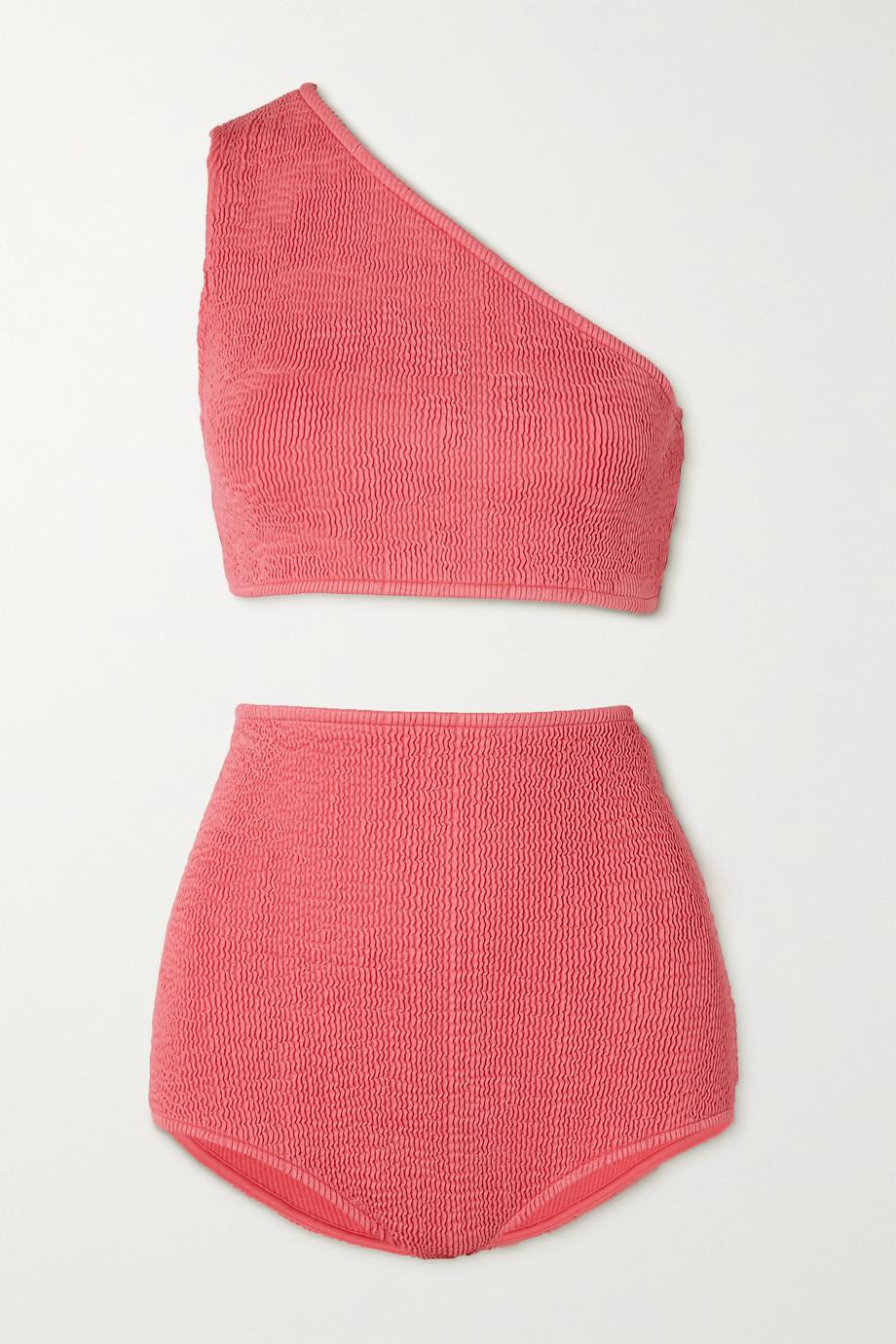 Bottega Veneta One-shoulder seersucker bikini