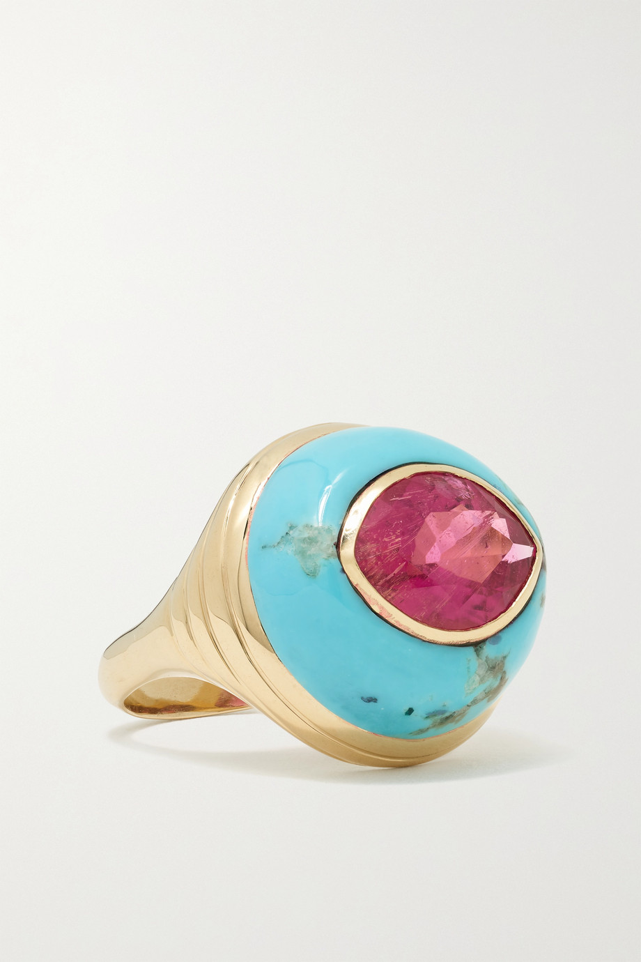 Retrouvaí Lollipop 14-karat gold, turquoise and rubellite ring