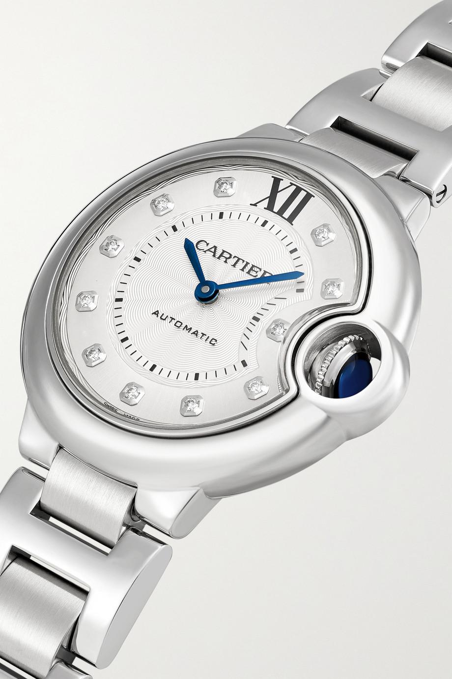 Cartier Montre en acier inoxydable et diamants Ballon Bleu de Cartier Automatique 33 mm