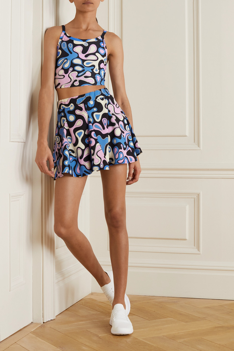 Year of Ours Splash printed stretch tennis skirt