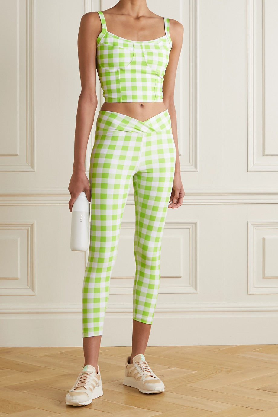 Year of Ours Veronica cropped gingham stretch top