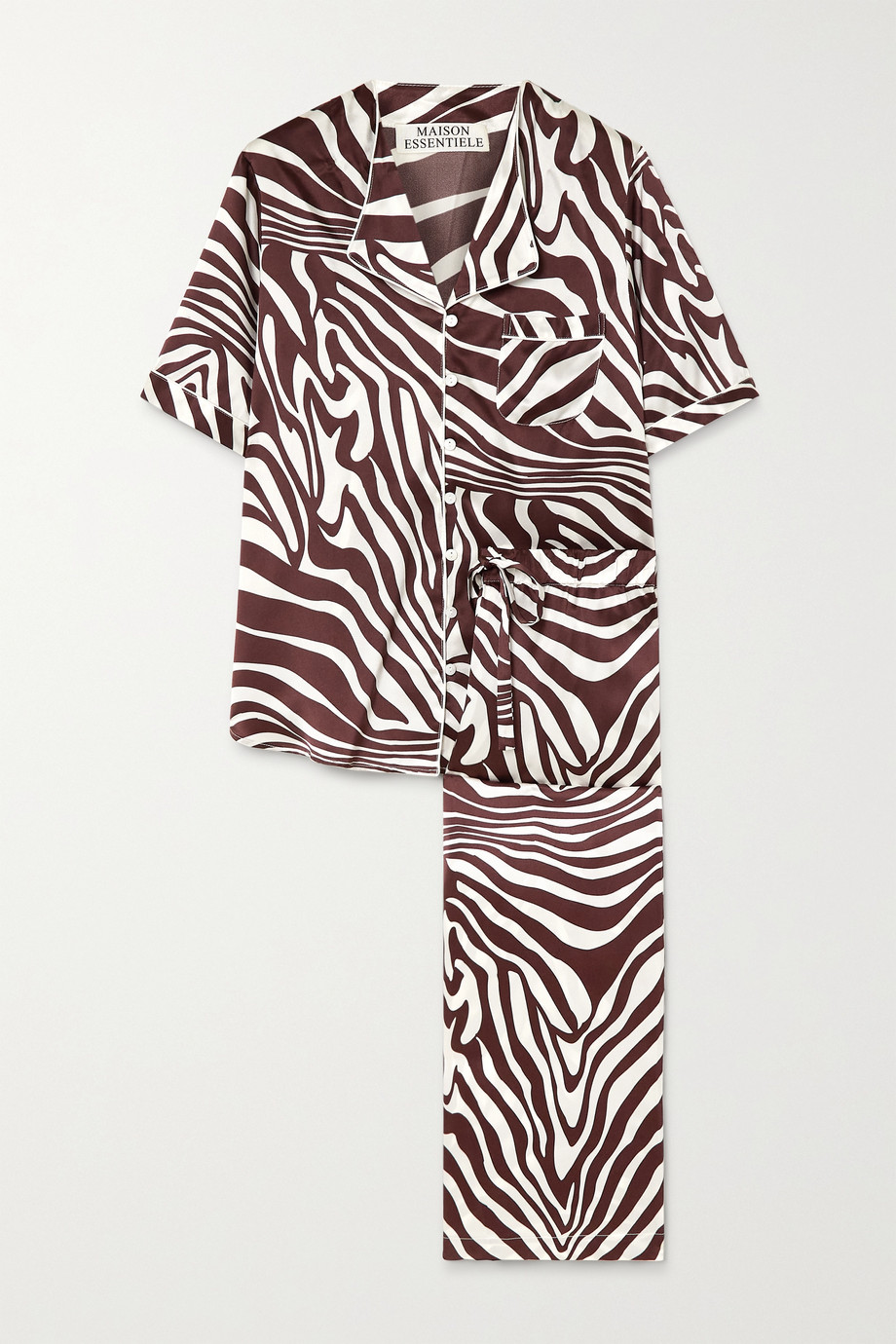Maison Essentiele Emma Pyjama aus Seidensatin mit Zebraprint