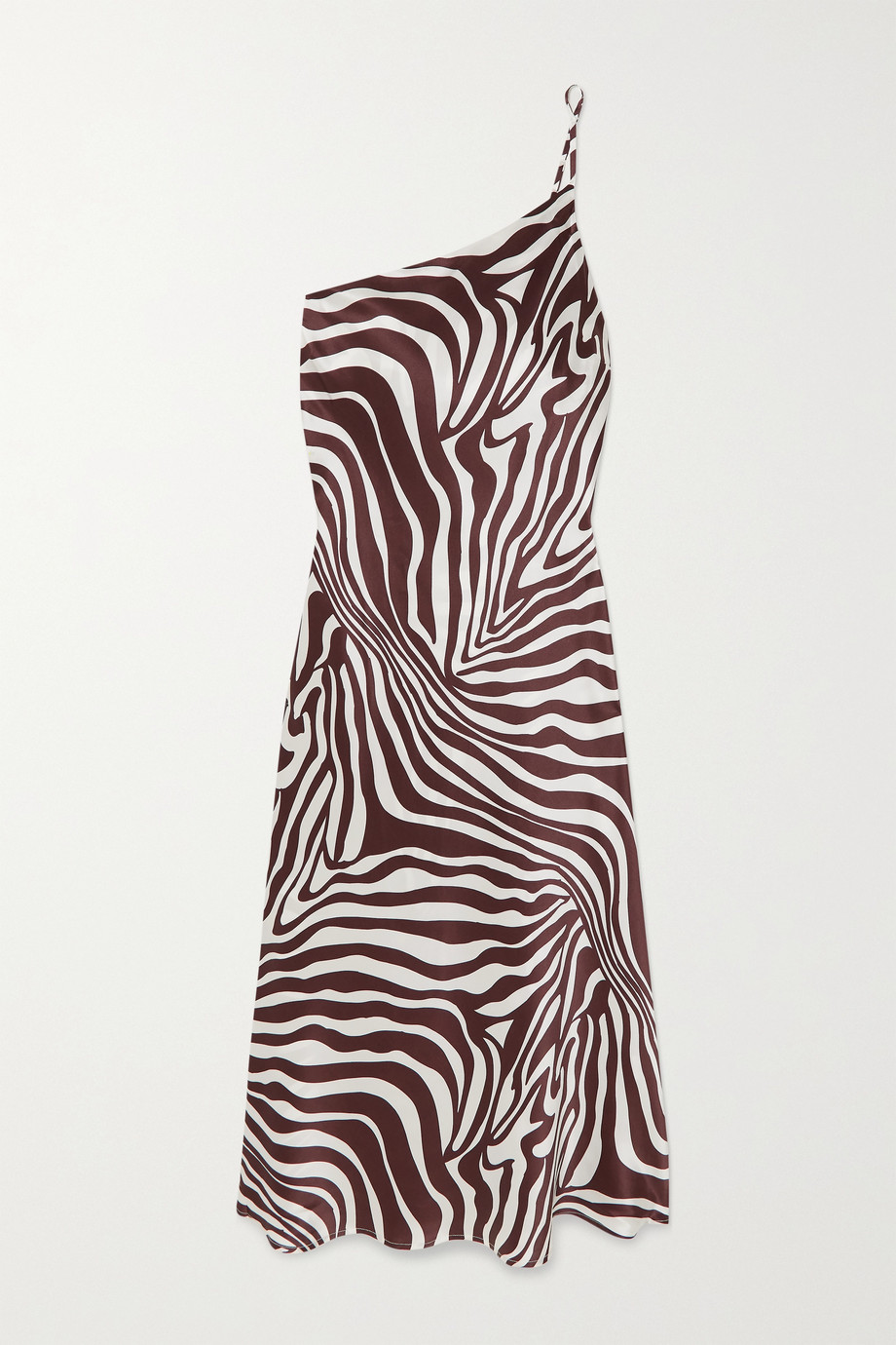 Maison Essentiele Lucile one-shoulder zebra-print silk-satin chemise