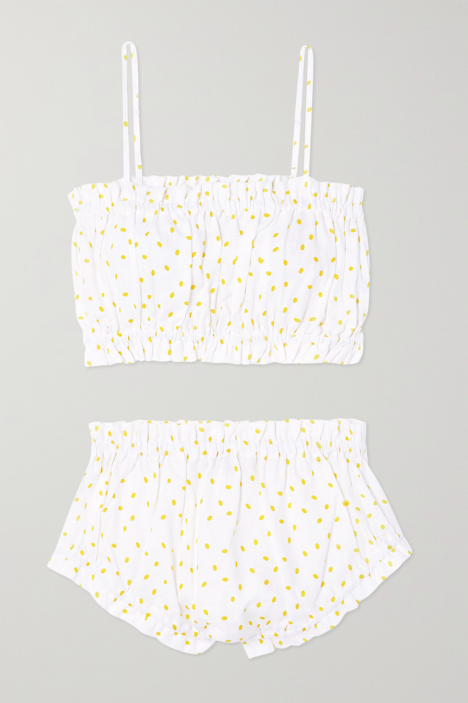 Maison Essentiele Rose gathered printed linen pajama set